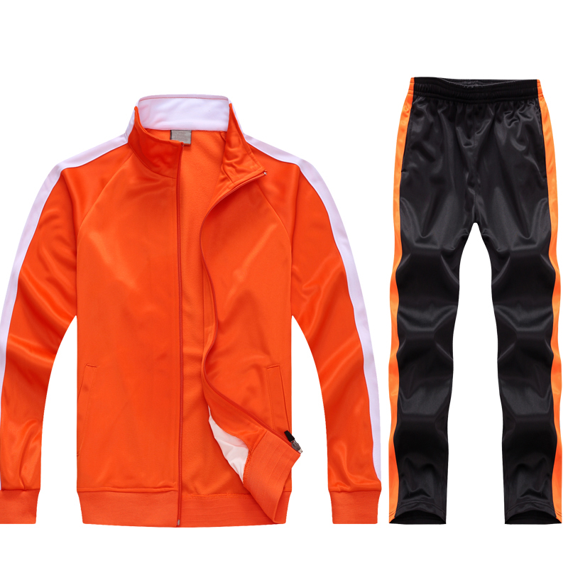 Orange Black Polyester Tracksuit Image