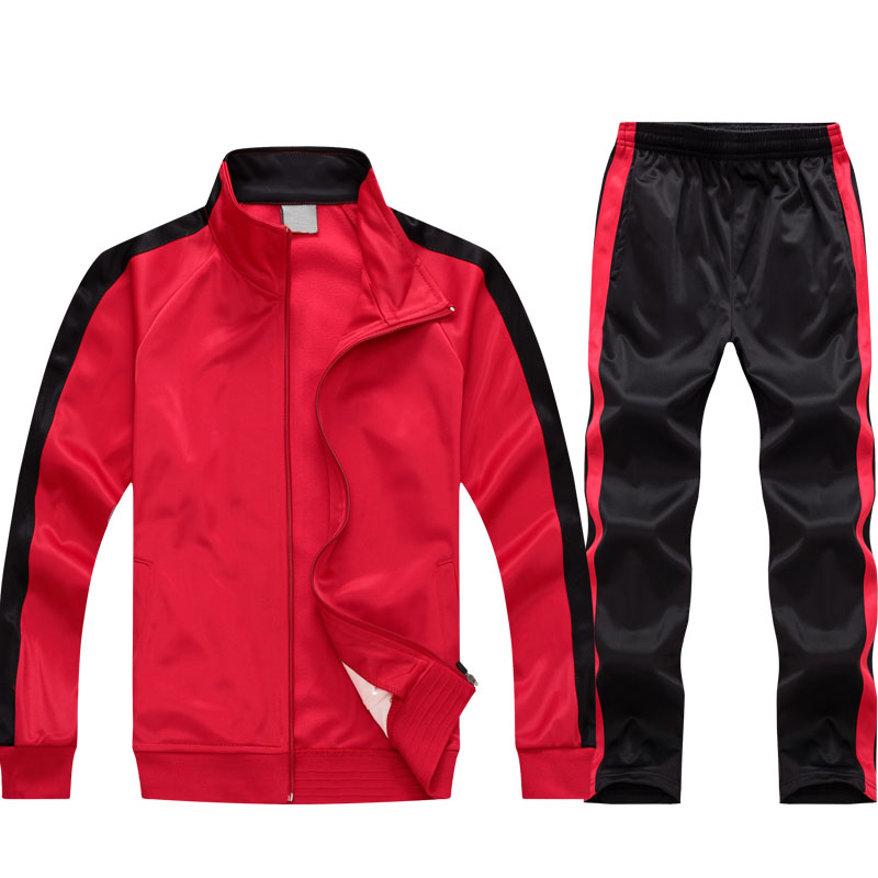 Red Black Polyester Swim Tracksuit Image