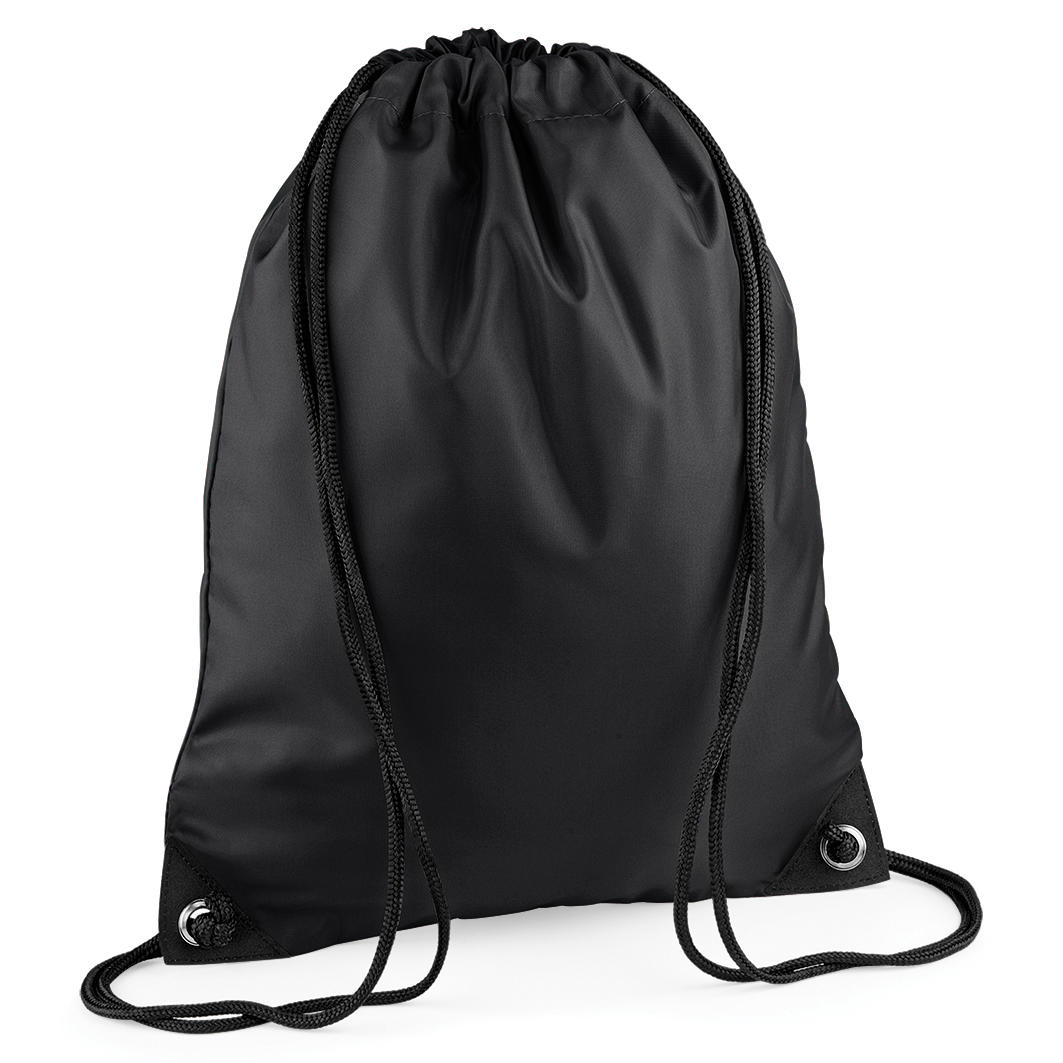 Black Custom Printed Drawstring Bags Image